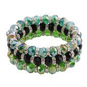 Green and Black Glass Silvertone Set of 3 Bracelets (Stretchable)
