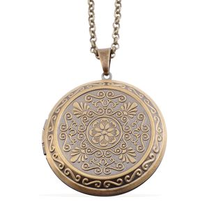 Brasstone Floral Engraved Locket with Chain (28 in)