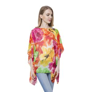 Yellow and Green Floral Pattern 100% Polyester Poncho (Free Size)