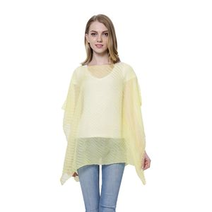 Yellow 100% Polyester Pleated Poncho (Free Size)