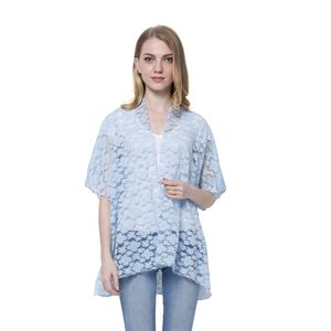 Sky Blue 100% Polyester Floral Embroidered Lace Kimono (One Size)