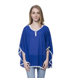 Royal Blue 100% Polyester Poncho or Blouse with Pom Pom Trim (Free Size)