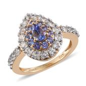 Premium AAA Tanzanite, White Topaz 14K YG Over Sterling Silver Ring (Size 7.0) TGW 2.55 cts.