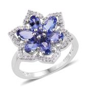 Premium AAA Tanzanite, Cambodian Zircon Platinum Over Sterling Silver Flower Ring (Size 8.0) TGW 3.22 cts.