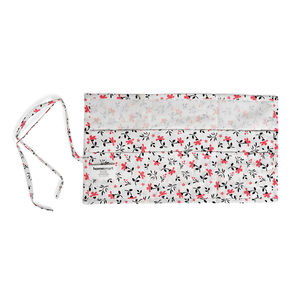 HomeSmart-Set of 3 Red, White, and Black Floral Print 100% Cotton 12 Pocket Travel Organizers (10x18 in)