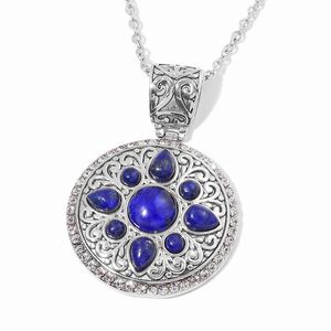 Lapis Lazuli, White Austrian Crystal Stainless Steel Pendant With Chain (20 in) TGW 20.50 cts.