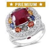 Niassa Ruby, Multi Gemstone Sterling Silver Ring (Size 10.0) TGW 12.89 cts.