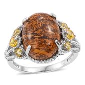 KARIS Collection - Indian Script Stone, Simulated Yellow Diamond Platinum Bond Brass Ring (Size 8.0) TGW 10.40 cts.