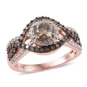 Champagne Diamond, Diamond 14K RG Over Sterling Silver Ring (Size 7.0) TDiaWt 1.96 cts, TGW 1.96 cts.