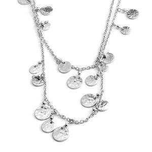 Designer Inspired Silvertone Charm Necklace (36 in)