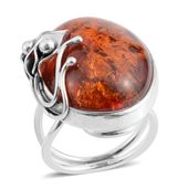 Baltic Cognac Amber Sterling Silver Ring (Adjustable)