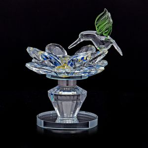 Home Decor Blue Glass, Rotatable Crystal Lotus Flower with Green Bird TGW 1320.00 cts.