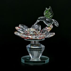 Home Decor Yellow and Red Glass, Rotatable Crystal Lotus Flower with Green Bird TGW 1320.00 cts.