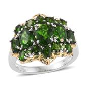 Russian Diopside 14K YG and Platinum Over Sterling Silver Ring (Size 7.0) TGW 6.48 cts.