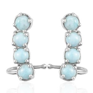 Larimar Platinum Over Sterling Silver Ear Cuff Earrings TGW 5.20 cts.
