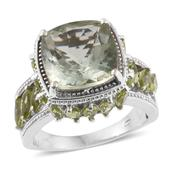 Dan's Collector Deal Green Amethyst, Hebei Peridot Platinum Over Sterling Silver Openwork Ring (Size 10.0) TGW 10.19 cts.