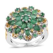 Kagem Zambian Emerald 14K YG and Platinum Over Sterling Silver Ring (Size 5.0) TGW 3.24 cts.