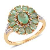 Kagem Zambian Emerald, Cambodian Zircon 14K YG Over Sterling Silver Split Ring (Size 5.0) TGW 2.93 cts.