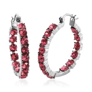 TLV Stainless Steel Inside Out Hoop Earrings Made with SWAROVSKI Coral Crystal