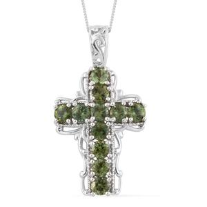 Forte Dauphin Apatite Platinum Over Sterling Silver Cross Pendant With Chain (20 in) TGW 3.07 cts.