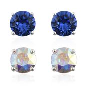 Sterling Silver Set of 2 Stud Earrings Made with SWAROVSKI Aurora Borealis and Blue Crystal
