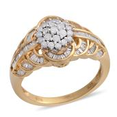 Diamond 14K YG Over Sterling Silver Ring (Size 10.0) TDiaWt 1.00 cts, TGW 1.000 cts.