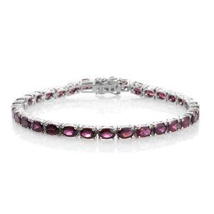 Orissa Rhodolite Garnet Platinum Over Sterling Silver Bracelet (8.00 In) TGW 19.84 cts.