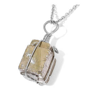 Pyrite Silvertone Pendant With Stainless Steel Chain (24 in) TGW 110.00 cts.
