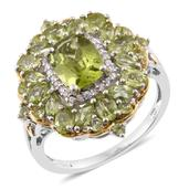 Hebei Peridot, Cambodian Zircon 14K YG and Platinum Over Sterling Silver Ring (Size 6.0) TGW 5.62 cts.