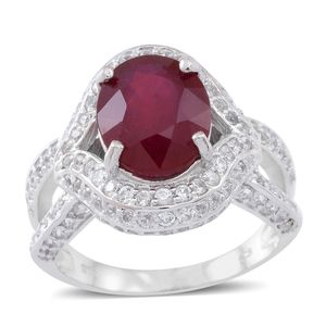 Niassa Ruby, Cambodian White Zircon Sterling Silver Split Eye Ring (Size 6.0) TGW 9.78 cts.