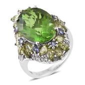 Chartreuse Quartz, Multi Gemstone Platinum Over Sterling Silver Ring (Size 6.0) TGW 15.77 cts.