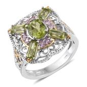 Hebei Peridot, Niassa Pink Sapphire 14K YG and Platinum Over Sterling Silver Ring (Size 6.0) TGW 3.45 cts.