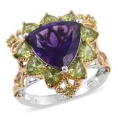 Lusaka Amethyst, Hebei Peridot 14K YG and Platinum Over Sterling Silver Ring (Size 9.0) TGW 7.59 cts.