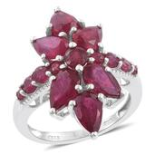 Niassa Ruby (FF) Platinum Over Sterling Silver Elongated Ring (Size 7.0) TGW 9.17 cts.