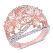 Marropino Morganite, White Zircon 14K RG Over Sterling Silver Ring (Size 6.0) TGW 2.65 cts.
