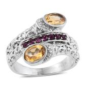 Brazilian Citrine Stainless Steel Bypass Ring (Size 5.0) Made with SWAROVSKI Purple Crystal TGW 1.56 cts.