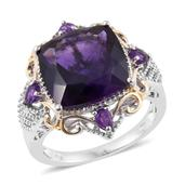 Lusaka Amethyst 14K YG and Platinum Over Sterling Silver Ring (Size 8.0) TGW 10.83 cts.