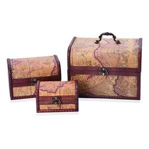 Set of 3 Handcrafted Map Printed Faux Leather Antique Treasure Chest Box (8.5x6x5.5in, 6x4.5x4in, and 4.5x3x2.5in)
