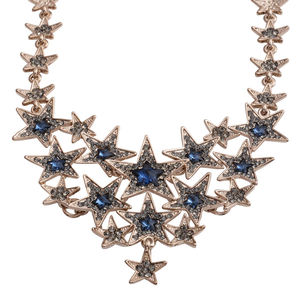 Blue Glass, Grey Austrian Crystal Silvertone Rustic Star Statement Necklace (22 in)