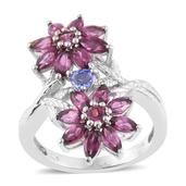 Tanzanite, Mahenge Umbalite Platinum Over Sterling Silver Floral Ring (Size 5.0) TGW 3.85 cts.