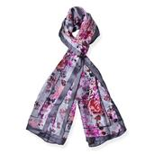 J Francis - Gray and Pink Rose Pattern 100% Natural Mulberry Silk Scarf (66x21 in)