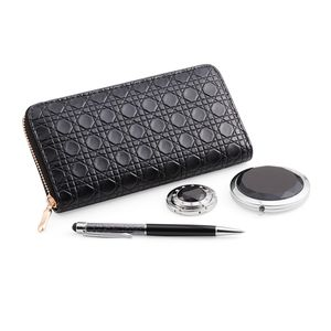 Black Geometric Embossed Faux Leather Ladies Wallet (7.5x3.5 in), Acrylic Crystals Pen, Black Glass, Austrian Crystal Bag Hanger and Compact Mirror