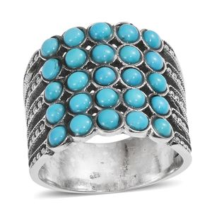 Arizona Sleeping Beauty Turquoise Sterling Silver Ring (Size 6.0) TGW 2.93 cts.