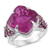 Radiant Orchid Quartz, Orissa Rhodolite Garnet Platinum Over Sterling Silver Ring (Size 7.0) TGW 21.70 cts.