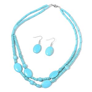 Blue Howlite Stainless Steel Earrings and Necklace (20 in) TGW 310.00 cts.