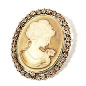 Mother's Day Cameo, Champagne Color Austrian Crystal Goldtone Brooch