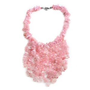 Galilea Rose Quartz Chips, Pink Glass Silvertone Fringe Necklace (18 in) TGW 750.00 cts.