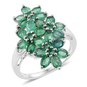 Kagem Zambian Emerald Platinum Over Sterling Silver Floral Elongated Ring (Size 8.0) TGW 3.02 cts.