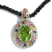 Chartreuse Quartz, Multi Gemstone 14K YG and Platinum Over Sterling Silver Removable Pendant With Thai Black Spinel Bead Necklace (20 in) TGW 87.06 cts.