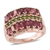Morro Redondo Pink Tourmaline, Russian Diopside 14K RG Over Sterling Silver Ring (Size 9.0) TGW 3.68 cts.